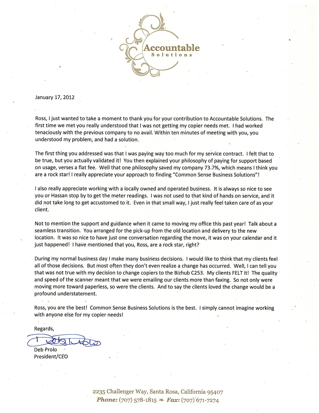 accountable solutions testimonial letter