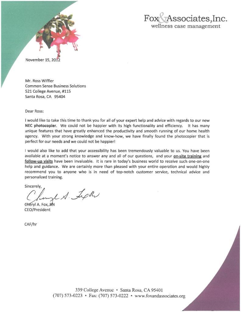fox associates testimonial letter