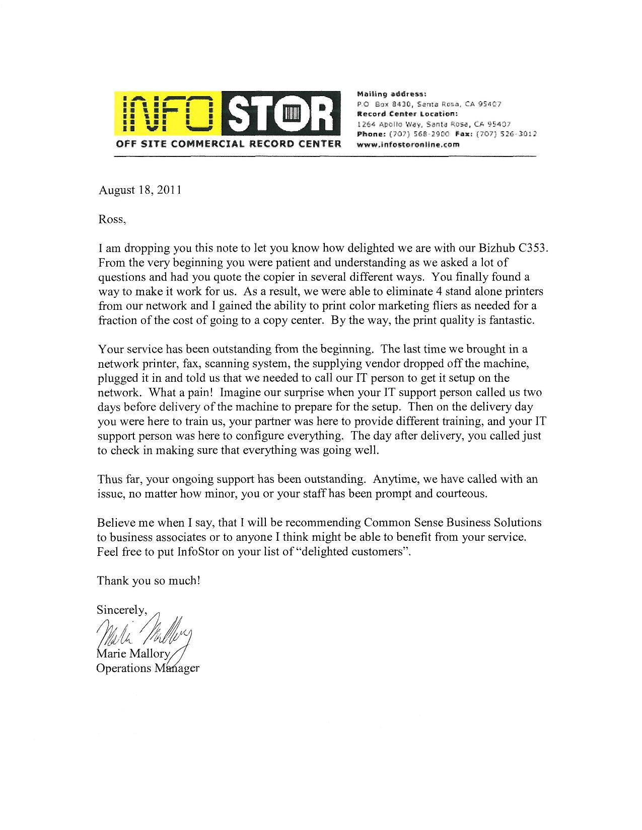 infostor testimonial letter