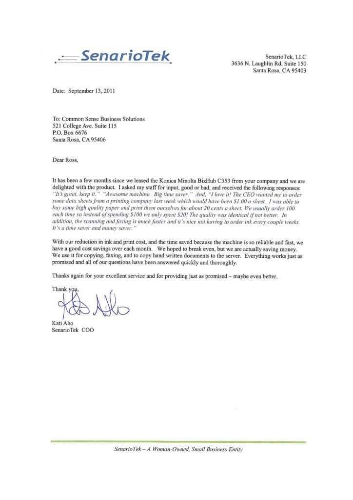senariotek testimonial letter