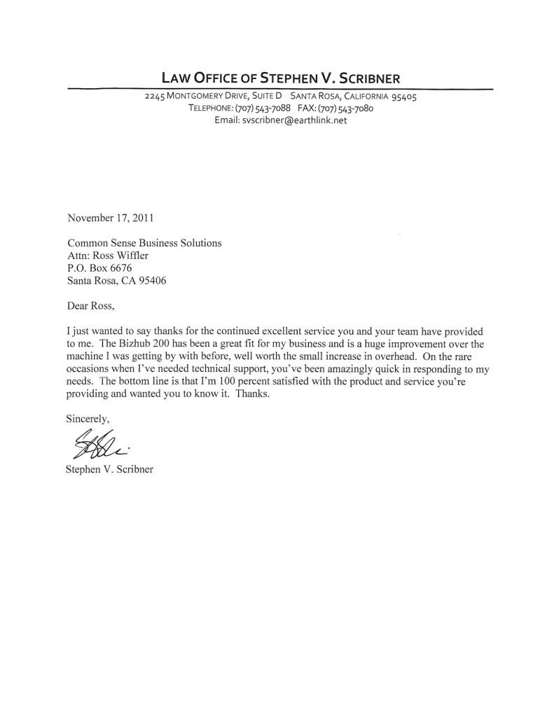 stephen scribner attorney testimonial letter