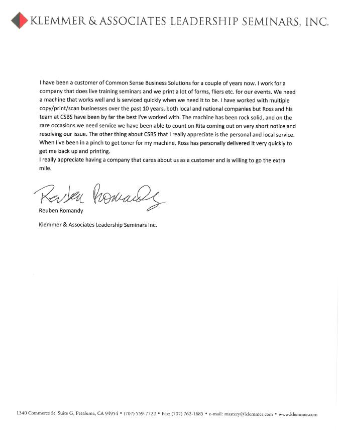 klezmer testimonial letter
