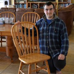 Fixing Wooden Chairs Video Game Chair Ottoman Repair A Loose Back On Young Man With Kitchen