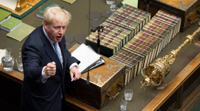 Prime Minister Johnson at the Dispathc Box in the House of Commons