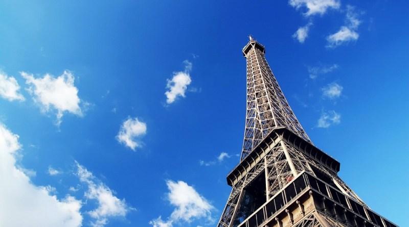 Eiffel Tower against blue sky