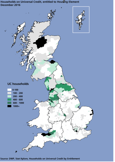 Map showing households in receipt of Universal Credit entitled to the housing element