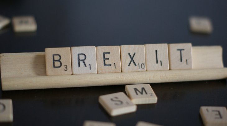BREXIT spelt out in Scrabble tiles.