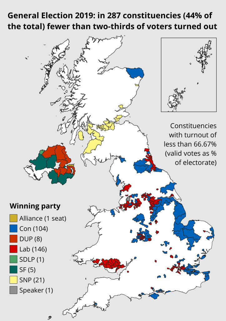A map showing that in 287 constituencies (44% of the total) fewer than two-thirds of voters turned out.