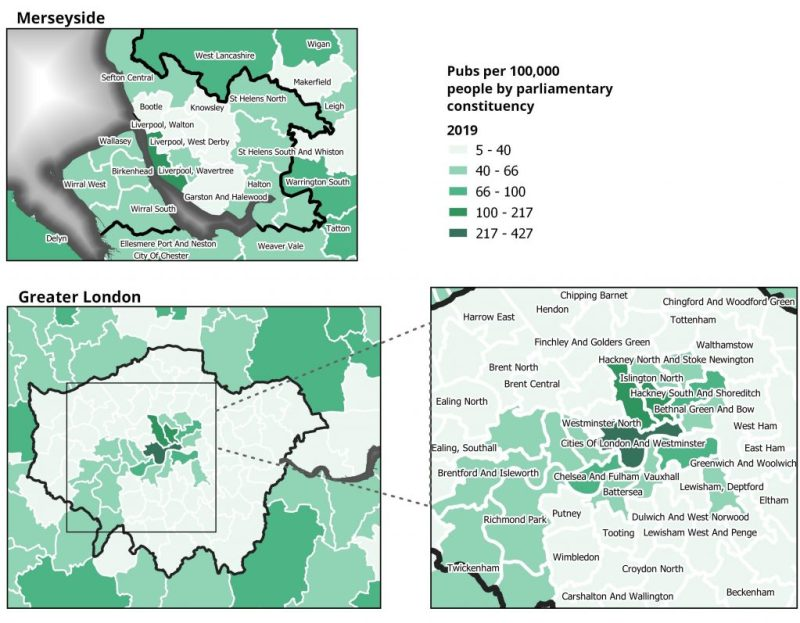 Maps showing the number of pubs per 100,000 people by parliamentary constituecies in Merseyside and Greater London.
