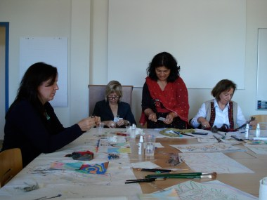 Workshops were an opportunity for hands-on learning: Techniques and Wisdom for Art Therapy, facilitated by art therapist and professor of art therapy, Lisa Garlock.