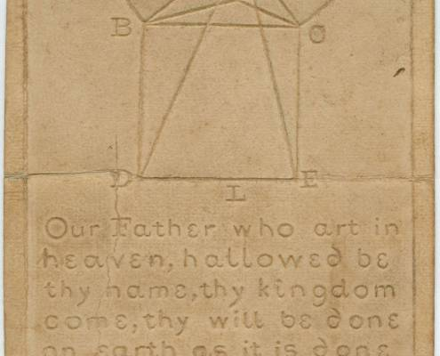 """Our Father Who Art in Heaven. Boston, 1833. Raised-letter specimen card. 8.5 x 5 in. This pictures shows a tactile specimen made from a piece of light brown rectangular cardstock, with a geometric shape and the Lord's prayer embossed into its surface. There is a crease in the middle of the paper, as though it has been folded. There is a geometric shape comprised of squares and triangles on the upper half of the print, with alphabetic letters A through I and K at each corner of the figure. The words on the lower half of the card form part of the Lord's prayer and read as follows: """"Our Father who art in heaven, hallowed be thy name, thy kingdom come, thy will be done on earth as it is done in heaven: give us this day our daily bread, and forgive us our trespasses as we for"""". The text ends at the word """"for,"""" without punctuation. Specimen was originally included in the """"Address to the Trustees of the New England Institution for the Education of the Blind"""" (Boston 1833). [End of description]"""