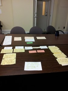 Table covered in Teresa Jaynes's notecards to map her initial concepts for the exhibition, February 2015.