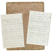 """Manuscript letters signed """"Jenny,"""" and pasteboard writing guide, late 19th century."""
