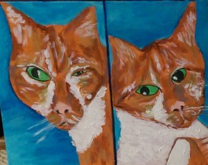Picture shows a double-sided bust portrait of an orange tabby cat, Sunny, on a blue background. In the left, Sunny, his heart-shaped head crooked, looks at the viewer with his green eyes. His right eye is large and almond–shaped. His left eye is shaped like a slit. Patches of white fur run down the sides of his muzzle and on his chest. In the right, the cat tilts his triangular-shaped head slightly to the left. He looks at the viewer with his green eyes. His irises are shifted to the left edges of his almond-shaped eyes. He has patches of white fur on his cheeks and a large patch that covers nearly his entire chest. [end of description]