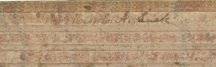 "Picture shows the upper edge of a writing board or tablet over a white background. The tablet is made of a brown cardboard-like material with a faded pink and blue marbled pattern and has raised, tactile, evenly spaced bars on its surface. In the center of the first bar, handwritten script reads ""Mrs. E. A. Lusk."" [End of description]"