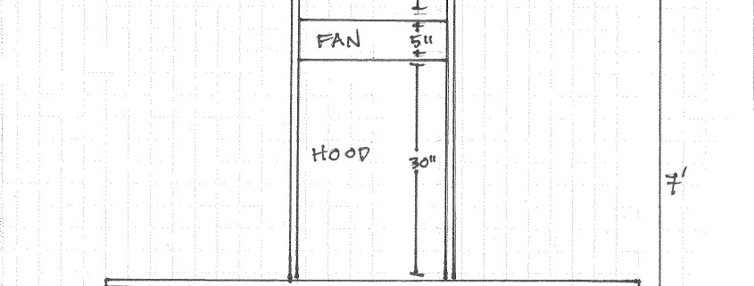 "Picture shows a pencil sketch titled ""Front View"" on an 8 1/2 x 11 in. piece of white paper with faint, vertical ruled black lines. In the center of the page is a tall, vertical rectangle. A measurement line labeled ""20 [in.]"" runs horizontally along the inside bottom edge of the rectangle. A long measurement line runs vertically along the right side of the rectangle. The line is divided into four segments and labeled, in the right, from bottom to top: ""28 [in.]""; ""30 [in.]""; ""5 [in.]""; ""20 [in.]."" The rectangle is divided into four segments. The segments are labeled, in the left, from bottom to top: ""Olfactometer""; ""Hood""; ""Fan""; ""Vent."" A two-dimensional view of a table cuts across the lower one-third of the rectangle. A measurement line labeled ""6'"" runs horizontally below the illustration. A measurement line labeled ""7'"" runs vertically to the right of the illustration. [End of description]"