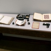Picture shows the top of a case displaying (left to right) an open book of raised print; mathematical blocks with the upper case roman letters T,V, and L; a book open to a square-shaped illustration; a scrapbook open to a page with a paper pattern composed of a pink background with repeated rows of maroon colored crosses interspersed with rows of maroon colored squares; a sepia-toned sheet of paper on a red background; mathematical blocks; and a book resting vertically and opened to a grid-shaped illustration across from a page of printed text. The materials lay on grey linen.