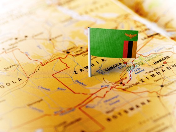 Zambia pinned on the map with flag. COMESA zambia mobile prover