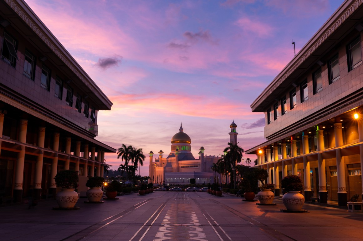 UK Foreign Secretary to visit Brunei. Sultan Omar Ali Saifuddin Mosque in Bandar Seri Begawan.