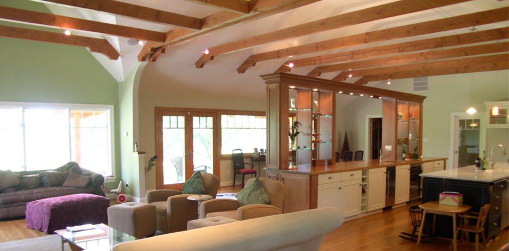 Open Floorplan with Beams  Commonwealth Home Design