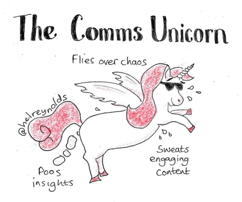 the comms unicorn cartoon: Show unicorn in suglasses with the caption: flies over chaos, poos insights, sweats engaging content