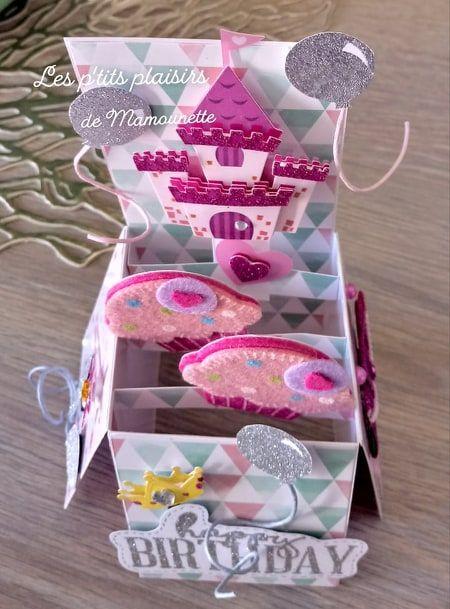 carte pop up anniversaire princesse