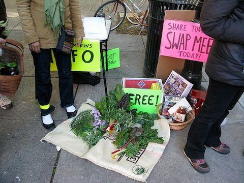 Потлач, Нью-Йорк. Активисты предлагают бесплатные продукты питания © Shira Golding