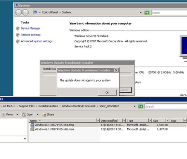 Installing  On Windows Server Standard Service Pack 2