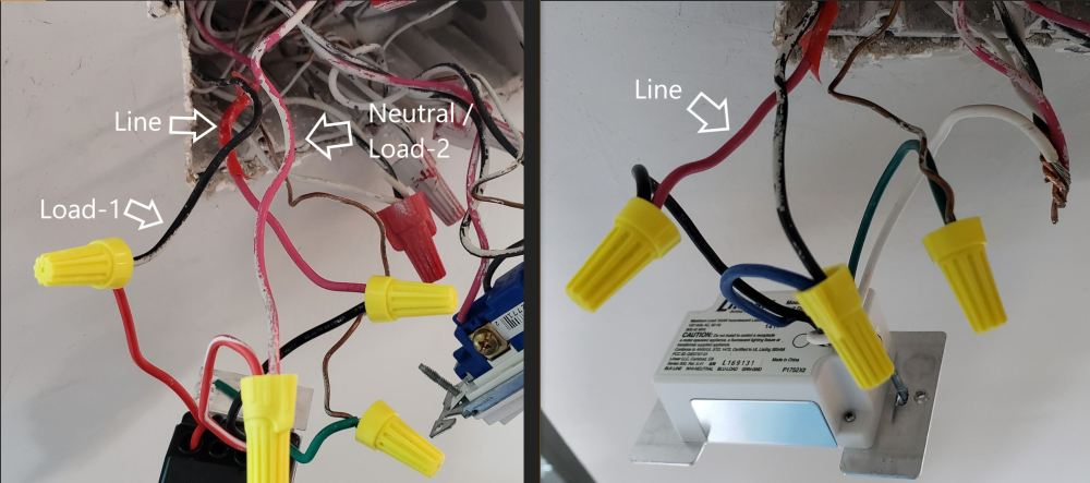 medium resolution of on the left i assume that the red wire from the dvcl goes to load 1 and the black wire from the dvcl goes to the neutral side of the load