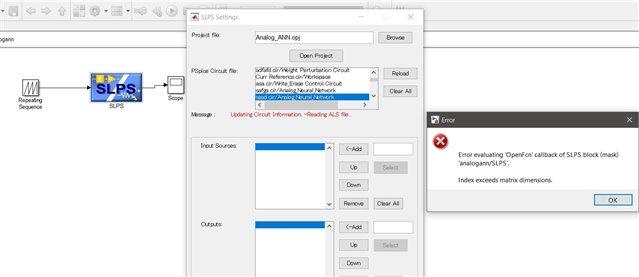 PSPICE_SLPS- MATLAB error: Error evaluating 'openfcn