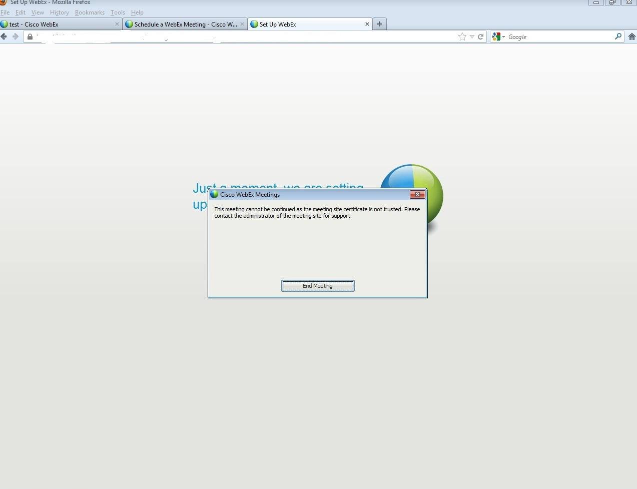 Solved Certificate Error While Initiate Webex Meeting On