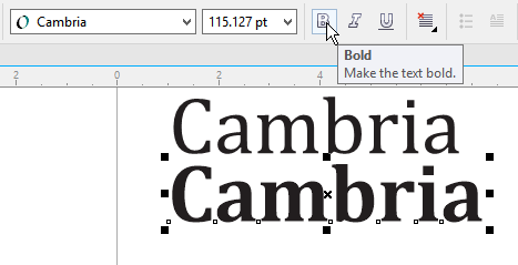 Bold option greyed out in Cambria, but works for ariel