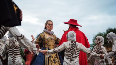 The Bone Queen and the Cardinal surrounded by the dance of death. Photo credit: Michael Baker