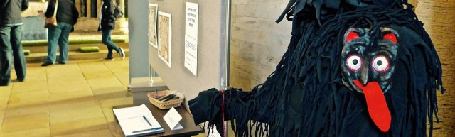 A medieval devil costume, as featured in the exhibition Plays, Processions and Parchment: Festive Traditions in the North East, held in Durham Cathedral April-May 2016. Photo credit: Jamie Beckett.