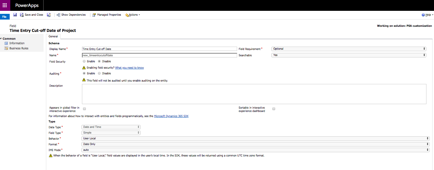 Dynamics 365 Project Service Automation: Using a cut-off