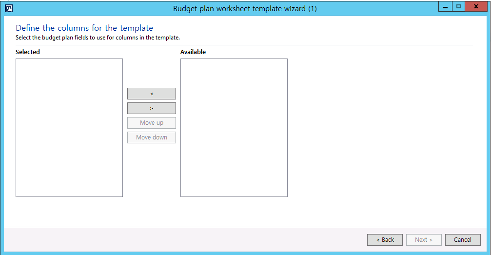 Budget plan worksheet template wizard, Not display any columns ...