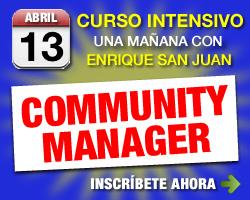 curso community manager para redes sociales. Facebook, Twitter. Social media. Curso profesional con enrique san juan barcelona
