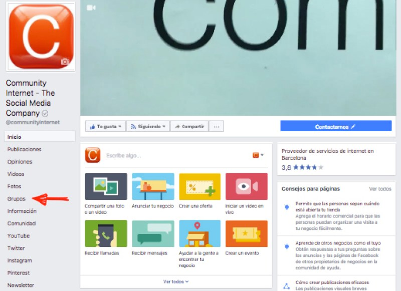 pagina facebook community internet