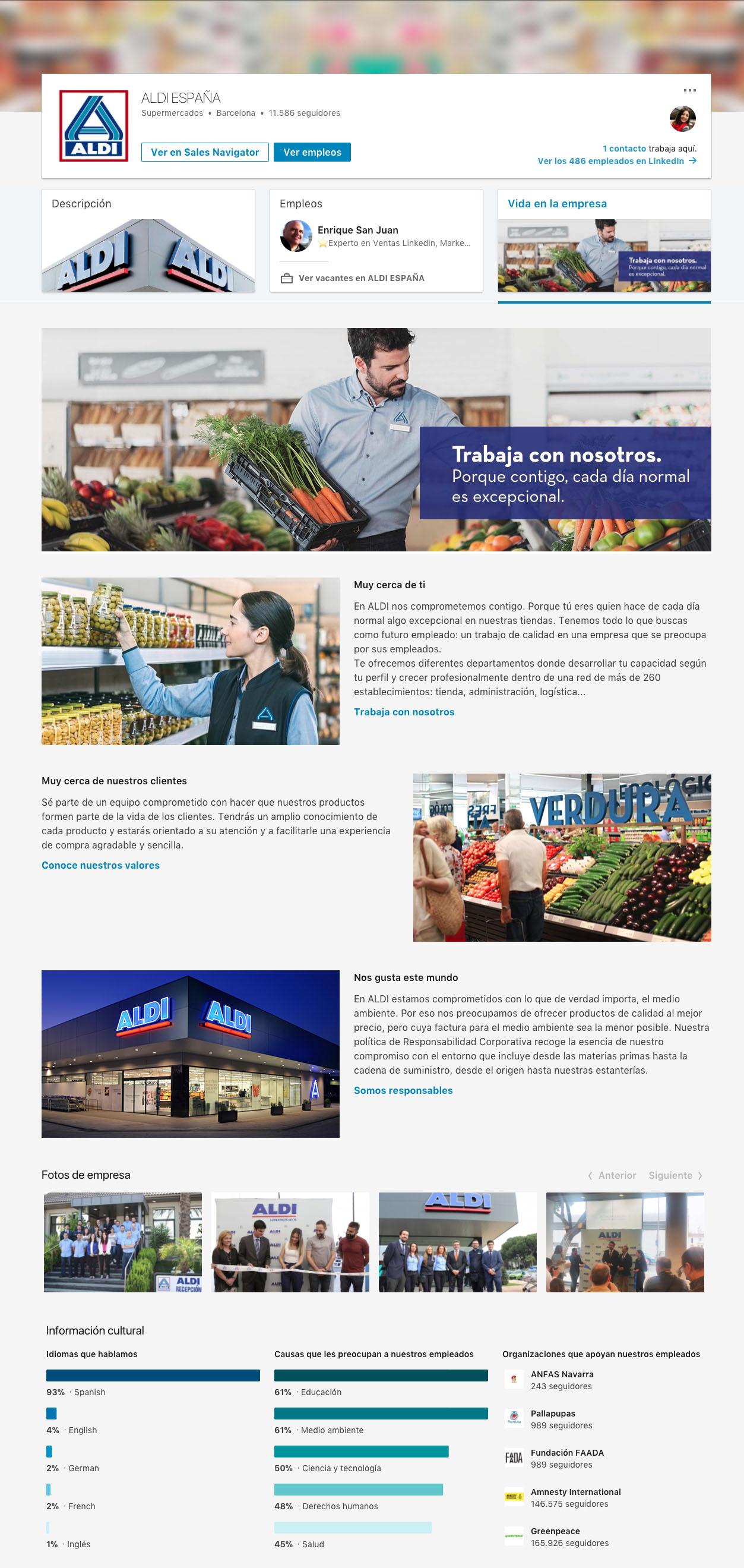 vida empresa linkedin supermercados aldi community internet