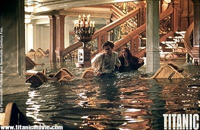 Rose and Jack running through freezing water