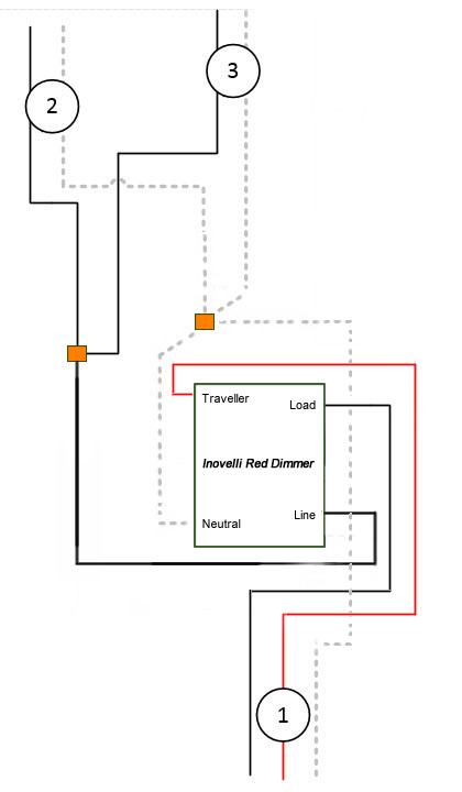Troubleshooting 3-way wiring between two Red Dimmers