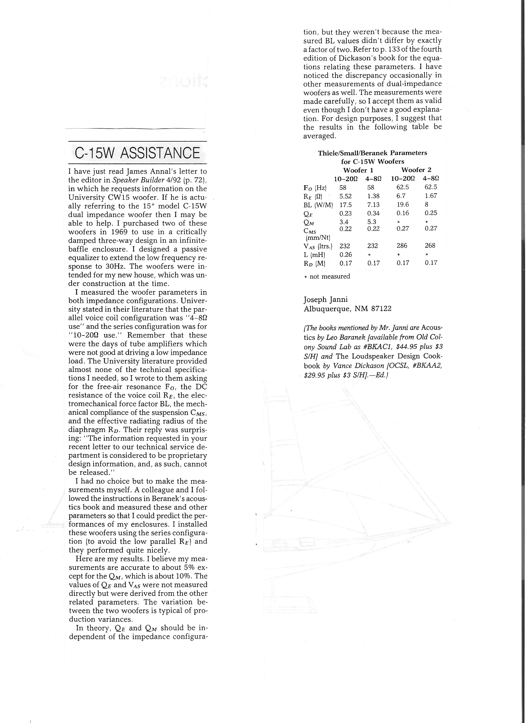 Thiele Small Parameters For University C15w