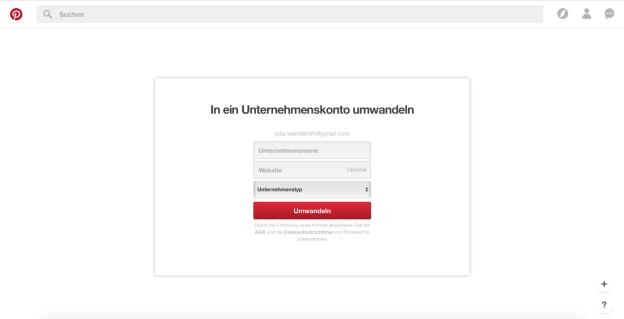 Pinterest als Unternehmenskonto anmelden