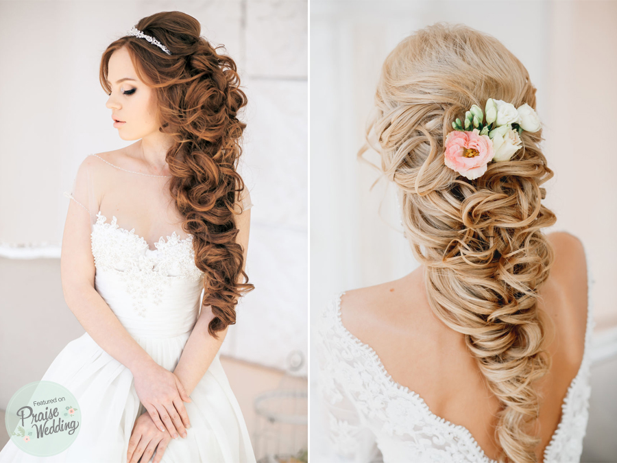 Romantic Princess Style Bridal Curls Praise Wedding