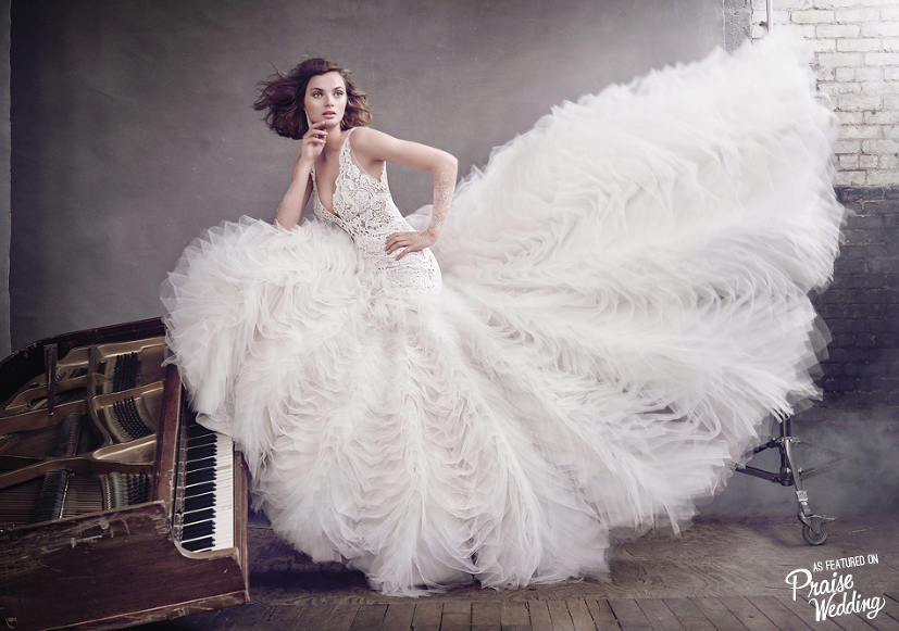 In Love With This Feather-inspired Gown From Lazaro's