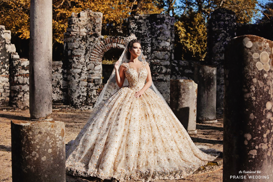 Show Stopping Golden Wedding Dress From Frida Xhoi Amp Xhei