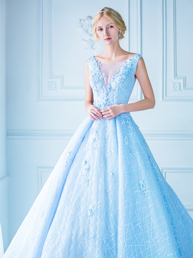 This baby blue gown from Digio Bridal featuring unique