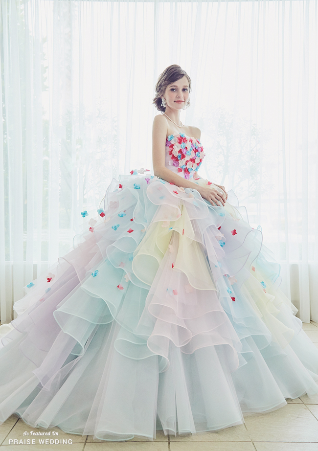 This Soft Pastel Rainbow Gown From Kiyoko Hata Featuring