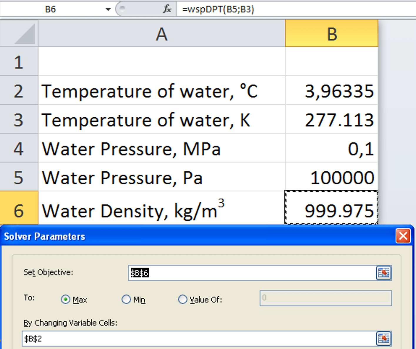 Equation For Density Of Water As A Function Temperature