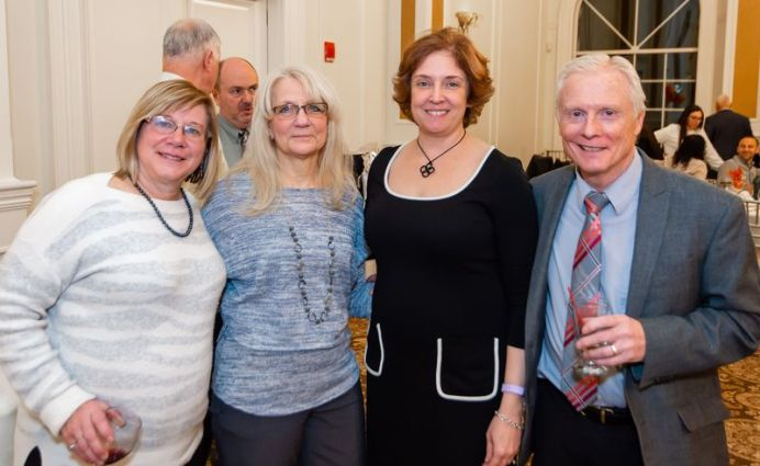 Joan Palladino, Linda Warren, Dr. Liz Mirabile-Levens and Gary Thompson, at a retirement party in honor of Dr. Carl Sherter of Waterbury Hospital at Aria Banquet Facility in Prospect. The party, hosted by Waterbury Pulmonary, brought together 150 colleagues to honor Dr. Sherter for 52 years of service to the medical community.Jim Shannon Republican-American